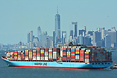 Containership MV 'Arthur Maersk' and the Statue of Liberty