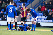 referee S Oldham stops the game after an injury to Macclesfield Town midfielder Emmanuel Osadebe during the EFL Sky Bet League 2 match between Macclesfield Town and Bradford City at Moss Rose, Macclesfield, United Kingdom on 30 November 2019.