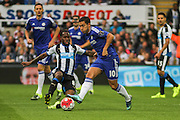 Newcastle United Vurnon Anita challenging Chelsea FC Eden Hazard during the Barclays Premier League match between Newcastle United and Chelsea at St. James's Park, Newcastle, England on 26 September 2015. Photo by Craig McAllister.