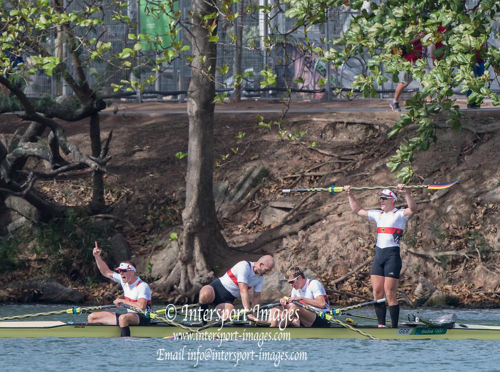 Rio de Janeiro. BRAZIL.  GER M4X. Bow. <br /> Philipp WENDE, Lauritz SCHOOF,  Karl SCHULZE, Hans GRUHNE, 2016 Olympic Rowing Regatta. Lagoa Stadium,<br /> Copacabana,  &ldquo;Olympic Summer Games&rdquo;<br /> Rodrigo de Freitas Lagoon, Lagoa. Local Time 10:19:00  Thursday  11/08/2016 <br /> [Mandatory Credit; Peter SPURRIER/Intersport Images]