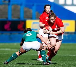 Caryl Thomas of Wales under pressure from Claire McLaughlin of Ireland <br /> <br /> Photographer Simon King/Replay Images<br /> <br /> Six Nations Round 5 - Wales Women v Ireland Women- Sunday 17th March 2019 - Cardiff Arms Park - Cardiff<br /> <br /> World Copyright © Replay Images . All rights reserved. info@replayimages.co.uk - http://replayimages.co.uk