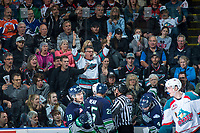 KELOWNA, CANADA - APRIL 25: Fans express disagreement with referees call at the Kelowna Rockets against the Seattle Thunderbirds on April 25, 2017 at Prospera Place in Kelowna, British Columbia, Canada.  (Photo by Marissa Baecker/Shoot the Breeze)  *** Local Caption ***