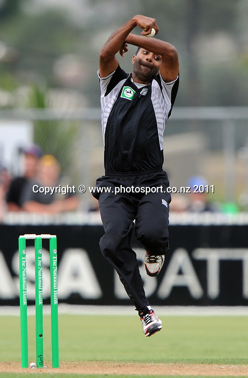 Tarun Nethula bowling on debut for New Zealand during the 2nd ODI cricket match between New Zealand and Zimbabwe at Cobham Oval in Whangarei, Monday 6 February 2012. Napier, New Zealand. Photo: Andrew Cornaga/Photosport.co.nz