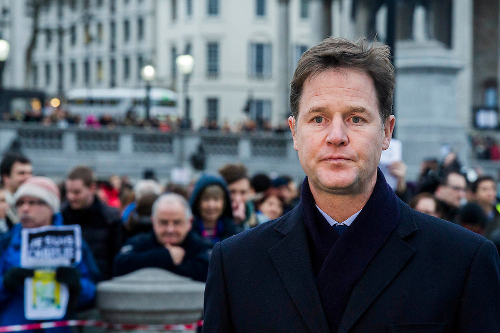 Nick Clegg (pictured) and Boris Johnson attend to show solidarity. Je suis Charlie/I am Charlie - A largely silent (with the occasional rendition of the Marseilaise)gathering in solidarity with the march in Paris today.  Trafalgar Square, London, UK 11 Jan 2015Guy Bell, 07771 786236, guy@gbphotos.com