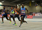 Feb 10, 2018; Boston, Massachussetts, USA; Christian Coleman (USA) wins the 60m in 6.46  during the New Balance Indoor Grand Prix her (at Reggie Lewis Center. From left: Keston Bledman (TTO),  Christopher Belcher (USA), Noah Lyles (USA) and Coleman.