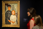 Amedeo Modigliani's rare double portrait Les deux filles, 1918 - Christie's Impressionist, Modern and Surrealist Art pre-sale exhibition ahead of the Evening sale on 4 February. Highlights include: Cézanne's Vue sur L'Estaque et Le Château d'If, from the collection of Samuel Courtauld, which is coming to the market for the first time since it was acquired 79 years ago, in 1936 (estimate: £8-12 million); The most valuable group of Surrealist art ever to be offered at auction, featuring a group of works by Magritte and Miró, led by Joan Miró's L'oiseau au plumage déployé vole vers l'arbre argenté, 1953, from a Distinguished European Collection (estimate: £7-9 million); Amedeo Modigliani's rare double portrait Les deux filles, 1918 (estimate: £6-8 million); Femme de Venise V by Alberto Giacometti (estimate: £6-8 million); Juan Gris's La Lampe, 1914, which is considered to be among the artist's greatest contributions to Cubism (estimate: £2.5-3.5 million); Paysage à L'Estaque, 1907, by Georges Braque (estimate: £2-3 million); An important group of German works from the collection of industrial chemist Carl Hagemann, representing three of the four founding artists of the Die Brücke movement, led by one of the masterpieces of Die Brücke art: Badende am Waldteich by Erich Heckel, along with key works by Ernst Ludwig Kirchner and Karl Schmidt-Rottluff; and other important works by Chagall, Moore, Picabia, Arp, Ernst, Tanguy and Dominguez. The auction has a total pre-sale estimate of £92.8 million-£133.8 million. Christie's, King Street, London, UK.