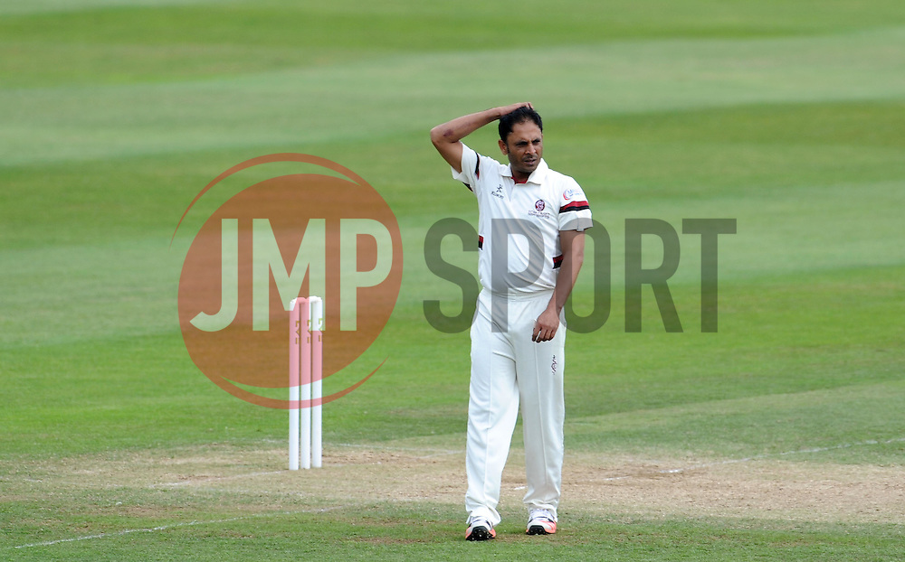 Dejection for Somerset's Abdur Rehman - Photo mandatory by-line: Harry Trump/JMP - Mobile: 07966 386802 - 16/06/15 - SPORT - CRICKET - LVCC County Championship - Division One - Day Three - Somerset v Nottinghamshire - The County Ground, Taunton, England.
