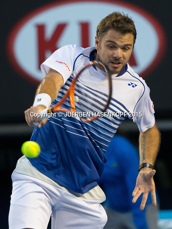 Stan Wawrinka (SUI)<br /> <br /> Tennis - Australian Open 2015 - Grand Slam ATP / WTA -  Melbourne Olympic Park - Melbourne - Victoria - Australia  - 30 January 2015.