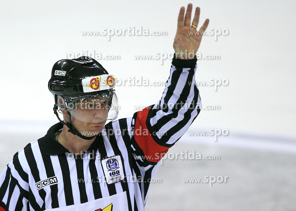 Referee at ice-hockey match USA vs Slovenia at Preliminary Round (group B) of IIHF WC 2008 in Halifax, on May 04, 2008 in Metro Center, Halifax, Nova Scotia, Canada. (Photo by Vid Ponikvar / Sportal Images)