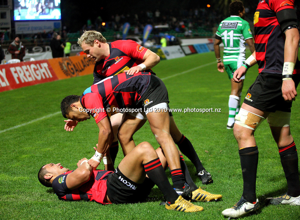 Canterbury's Telusa Veainu and Andy Ellis congratulate Robbie Fruean on his try. ITM Cup rugby - Manawatu Turbos v Canterbury at FMG Stadium, Palmerston North, New Zealand on Friday, 5 August 2010. Photo: Dave Lintott/Photosport