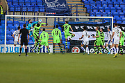 Forest Green Rovers goalkeeper Sam Russell(23) punches away a Tranmere cross during the Vanarama National League match between Tranmere Rovers and Forest Green Rovers at Prenton Park, Birkenhead, England on 11 April 2017. Photo by Shane Healey.