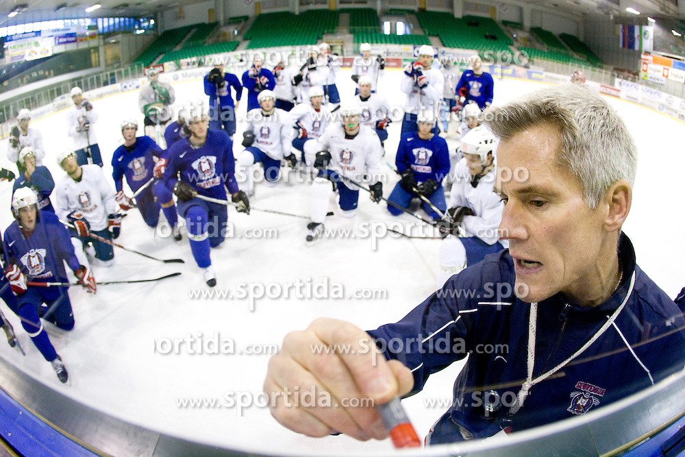 Head coach John Harrington at third practice of Slovenian National Ice hockey team before World championship of Division I - group B in Ljubljana, on April 6, 2010, in Hala Tivoli, Ljubljana, Slovenia.  (Photo by Vid Ponikvar / Sportida)