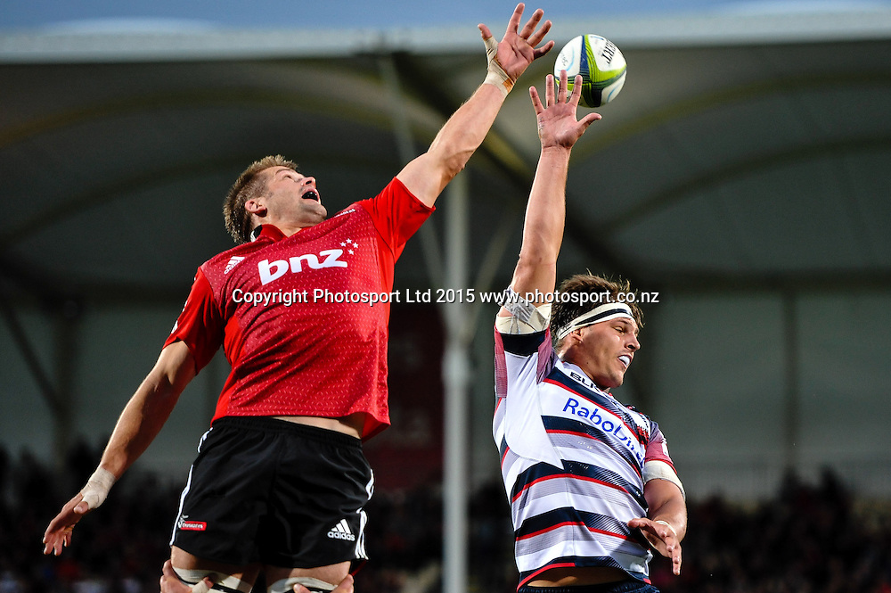 Richie McCaw of the Crusaders and Luke Jones of the Rebels fight for a line out ball in the Super Rugby match, Crusaders v Rebels at AMI Stadium, Christchurch, New Zealand 13 February 2015. Photo:John Davidson/www.photosport.co.nz
