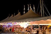 Newport Bucket Regatta party tent at night