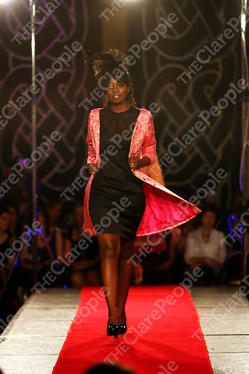 Models from The Holman Lee model agency strut their stuff at the Scoil na Maighdine Mhuire Newmarket-on-Fergus National School fashion show in Dromoland Castle on Wednesday evening.<br /> Photograph by Yvonne Vaughan
