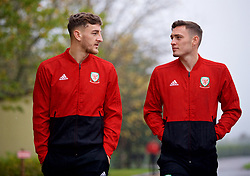 CARDIFF, WALES - Sunday, October 13, 2019: Wales' Tom Lockyer (L) and Connor Roberts during a pre-match team walk at the Vale Resort ahead of the UEFA Euro 2020 Qualifying Group E match between Wales and Croatia. (Pic by David Rawcliffe/Propaganda)