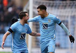 Coventry City's Max Biamou celebrates scoring the first goal against Swindon Town