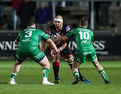 Dragons' Rynard Landman is tackled by Connacht's Conor Carey and Jack Carty<br /> <br />  - Mandatory by-line: Craig Thomas/JMP - 15/09/2017 - RUGBY - Rodney Parade - Newport, Gwent, Wales - Newport Gwent Dragons v Connacht Rugby - Guinness Pro 14