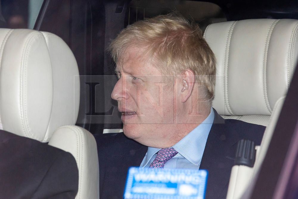 © Licensed to London News Pictures. 20/06/2019. London, UK. Boris Johnson MP, the frontrunner to become the Leader of the Conservative Party and next Prime Minister, is driven in to Parliament for the next round of voting in the leadership campaign. The final two candidates will be put to the party membership in a ballot. Photo credit: Rob Pinney/LNP