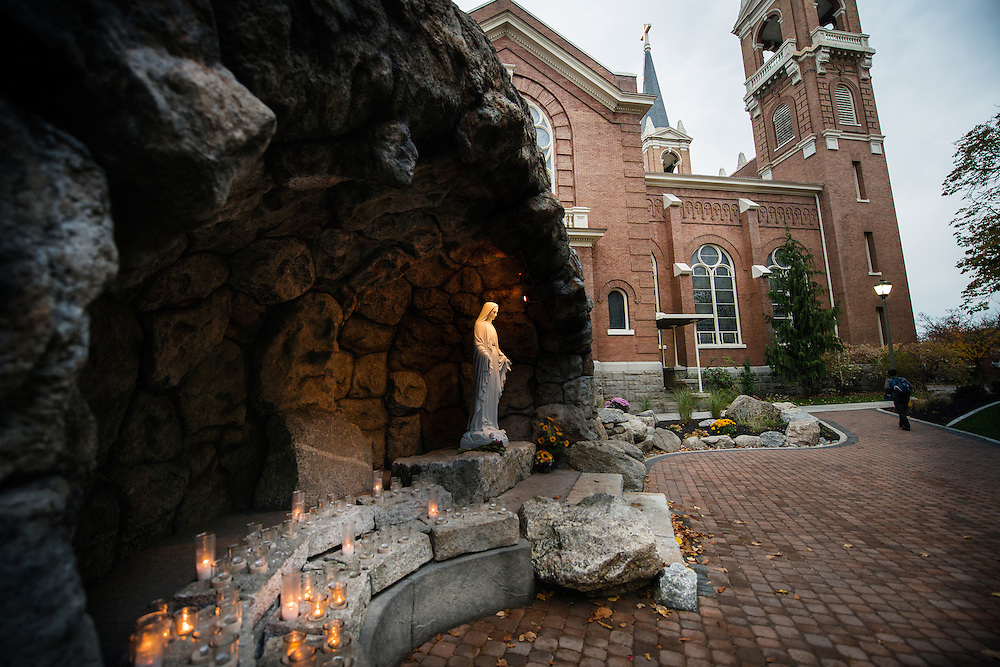 The Grotto is located between St. Aloysius Church and College Hall.<br />