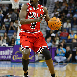 February 12, 2011; New Orleans, LA, USA; Chicago Bulls small forward Luol Deng (9) against the New Orleans Hornets during the third quarter at the New Orleans Arena.  The Bulls defeated the Hornets 97-88. Mandatory Credit: Derick E. Hingle