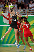 11th April 2018, Gold Coast Convention and Exhibition Centre, Gold Coast, Australia; Commonwealth Games day 7; Netball, England versus New Zealand; Bailey Mes of New Zealand receives the pass