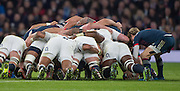 Twickenham, United Kingdom.  Scrum half, Baptiste SERIN, feeds the ball into the scrum, Tattoe artwork on display from the fowards packed down    RBS. Six Nations : England   vs France  at the  RFU Stadium, Twickenham, England, <br /> <br /> Saturday  04/02/2017<br /> <br /> [Mandatory Credit; Peter Spurrier/Intersport-images]