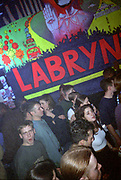 Crowd Below Mural, Dream FM Pirate Radio Benefit, Labyrinth Dalston, London, 1994.