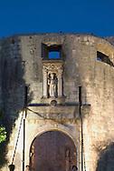 Pile Gate, the entrance to Dubrovnik old town,<br /> at dusk.  Dubrovnik, Croatia<br /> c. Ellen Rooney