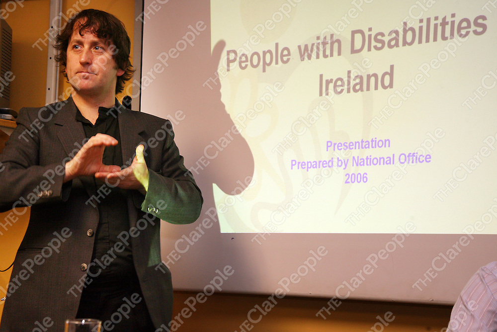 Sign language interpreter Sean Gilligan at the Clare Network of People with Disabilities conference in the Templegate Hotel on Friday.<br /><br />Photograph by Yvonne Vaughan.