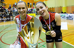 Karmina Suznik of Nova KBM Branik and Anita Sobocan of Nova KBM Branik celebrate after winning during volleyball match between Nova KBM Branik Maribor and OK Luka Koper in Final of Women Slovenian Cup 2014/15, on January 18, 2015 in Sempeter v Savinjski dolini, Slovenia. Photo by Vid Ponikvar / Sportida