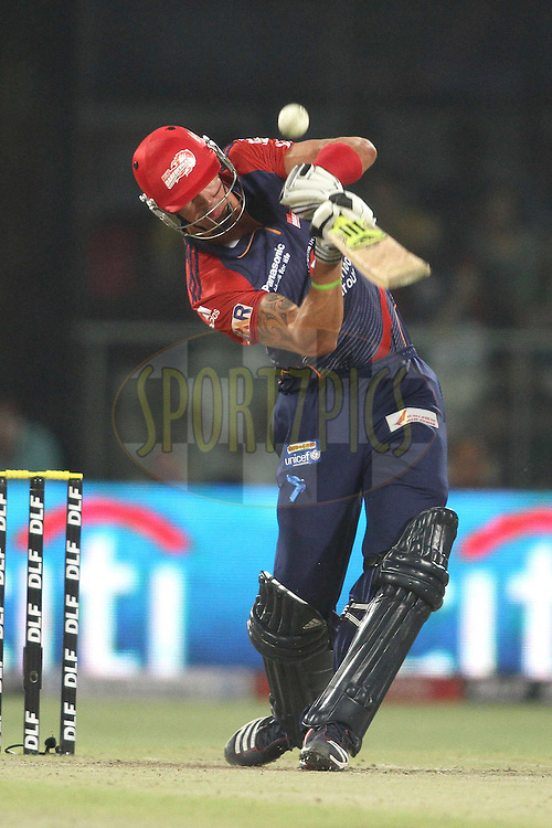 Kevin Pietersen of the Delhi Daredevils hits over the top for six during match 36 of the the Indian Premier League (IPL) 2012  between The Delhi Daredevils and the Mumbai Indians held at the Feroz Shah Kotla, Delhi on the 27th April 2012..Photo by Shaun Roy/IPL/SPORTZPICS