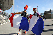 France supporters with flags ahead of the Euro 2016 final between Portugal and France at Stade de France, Saint-Denis, Paris, France on 10 July 2016. Photo by Phil Duncan.