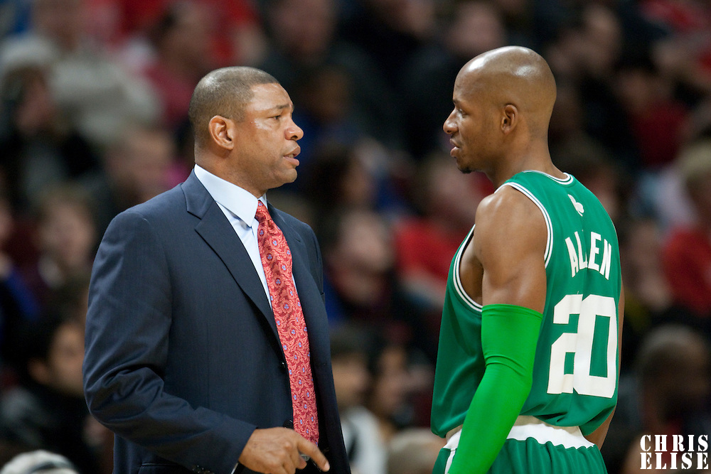 12 December 2009: Coach Doc Rivers of the Boston Celtics talks to Boston Celtics guard Ray Allen during the Boston Celtics 106-80 win over the Chicago Bulls at the United Center, in Chicago, Illinois, USA.