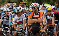 Marianne Vos (NED) and Lizzie Armistead (GBR) on the start line at The Pro Women's Grand Prix race at Prudential RideLondon, the world's greatest festival of cycling, involving 70,000+ cyclists – from Olympic champions to a free family fun ride - riding in five events over closed roads in London and Surrey over the weekend of 9th and 10th August. <br />