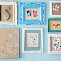 Burlap projects: Framed artwork on wall