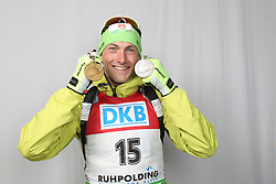 06/03/2012, Ruhpolding, Germany. Fak (SLO) with his medals at the IBU world championships biathlon, medals, Ruhpolding (GER) .© Manzoni / Pool / Teyssot / Sportida.