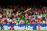 17th February 2019, Marvel Stadium, Melbourne, Australia; Australian Big Bash Cricket League Final, Melbourne Renegades versus Melbourne Stars; Marcus Stoinis of the Melbourne Stars bowls