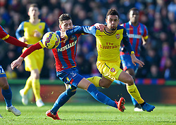 LONDON, ENGLAND - Saturday, February 21, 2015: Arsenal's Francis Coquelin in action against Crystal Palace during the Premier League match at Selhurst Park. (Pic by David Rawcliffe/Propaganda)