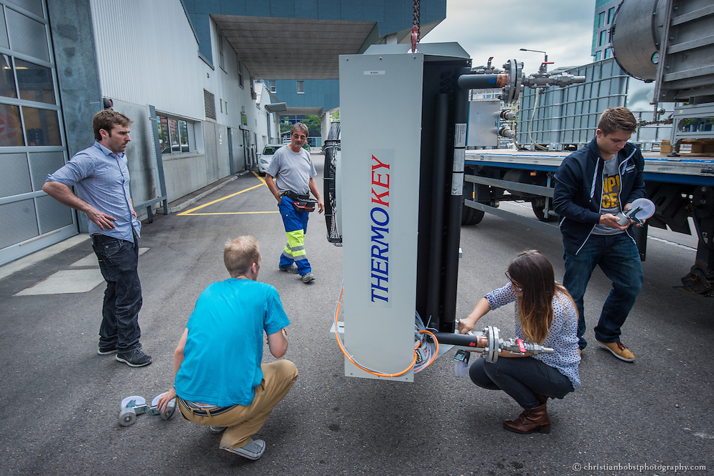 A prototype of a CO2 absorbing machine gets loaded to a truck at the offices of Climeworks at   Technopark in Zürich. Climeworks is a spin-off of the Swiss Federal Institute of Technology (ETH) in Zürich, Switzerland. They developed a new technology for efficiently capturing CO2 out of ambient air. The company claims that the captured CO2 enables the production of carbon-neutral renewable fuels allowing for efficient storage of renewable energies.