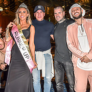 The Cannon Run bikini girls Judge Dapper Laughs, Tamer Hassan, Shane Lynch, ManLikeHaks and the winners Jade Hobden(3rd) at the Driving holiday experience hosts yacht party at The Sunborn Yacht, Royal Victoria Dock on 31 May 2019, London, UK.