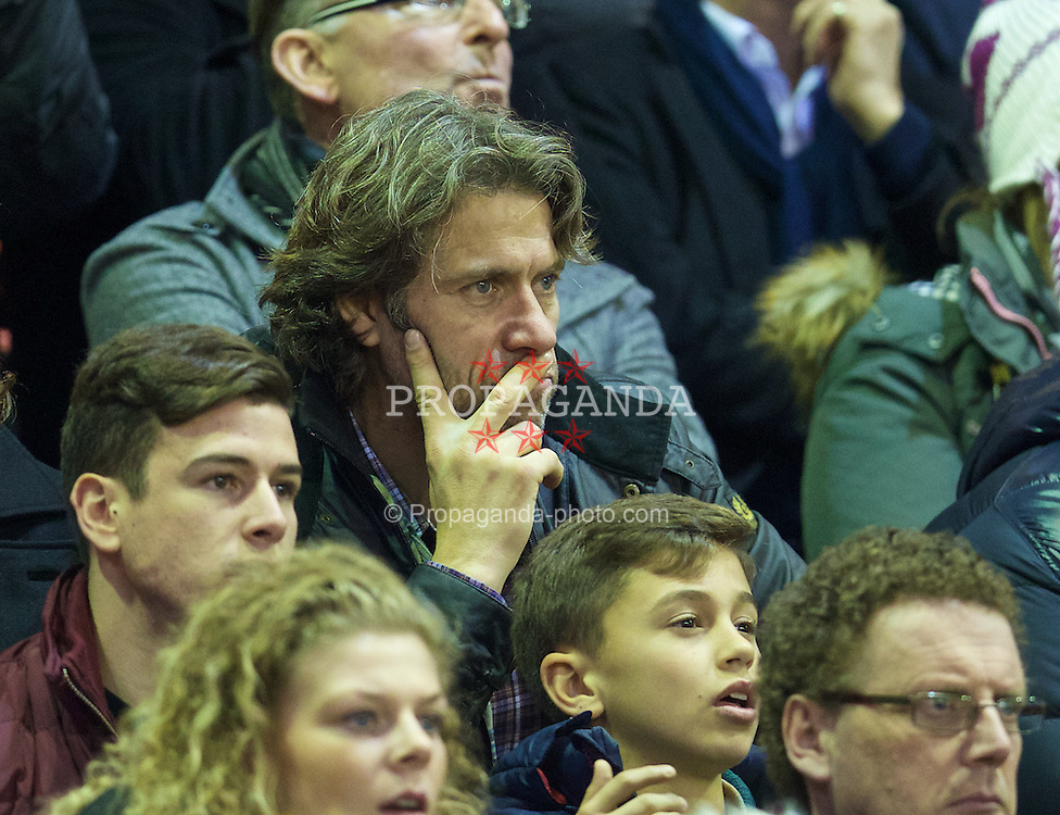 LIVERPOOL, ENGLAND - Thursday, New Year's Day, January 1, 2015: A rough looking comedian John Bishop watches Liverpool take on Leicester City during the Premier League match at Anfield. (Pic by David Rawcliffe/Propaganda)