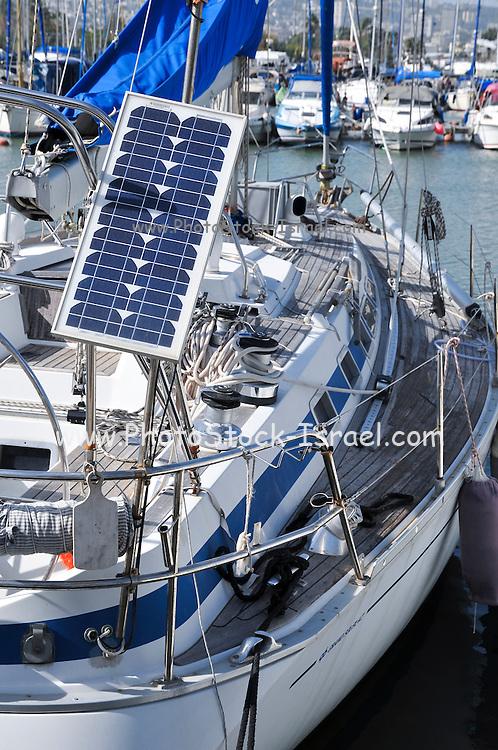 Solar panel on a yacht