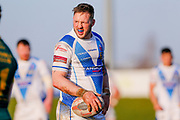 Workington Town prop Oliver Wilkes (8)  during the Ladbrokes Challenge Cup round 3 match between Hunslet Club Parkside and Workington Town at South Leeds Stadium, Leeds, United Kingdom on 24 February 2018. Picture by Simon Davies.