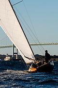 Herreshoff S Class sailboat, Arete, out for a sunset sail.