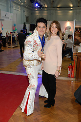 RACHEL STEVENS and and Elvis impersonator  at the Plusher Fair, Lindley Hall, Royal Horticultural Halls, Vincent Square, London, on 9th November 2013.