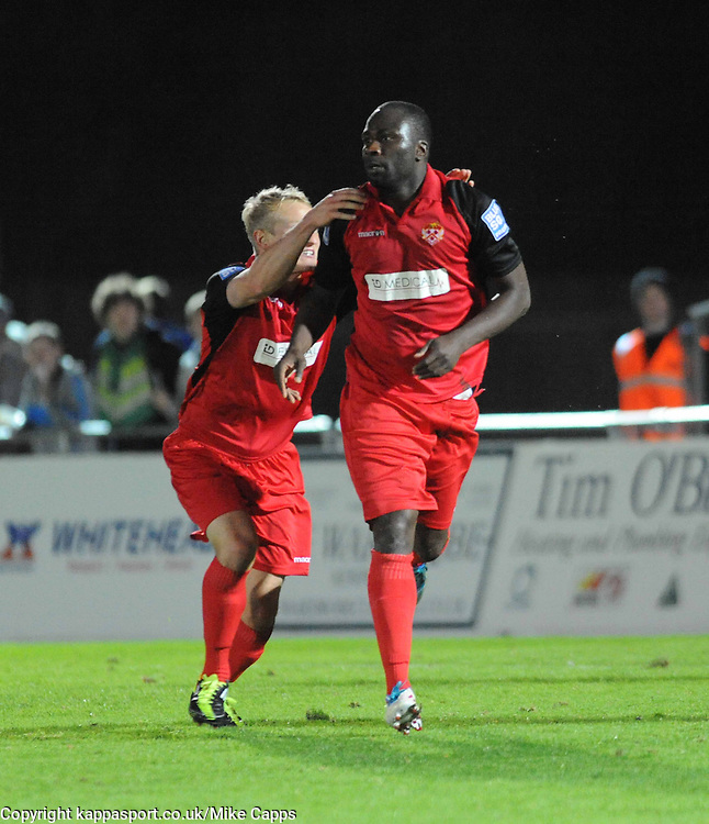 MOSES ASHIKODI, CELEBRATES HIS GOAL, WITH MARCUS KELLY, THAT  PUTS KETTERING LEVEL AT NEWPORT COUNTY, Newport County AFC Kettering Town, Blue Square Premier, Tuesday 18th October 2011