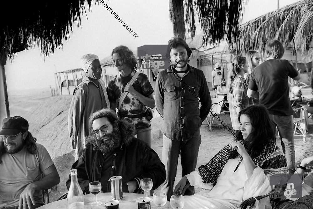 The Grateful Dead – Egypt 1978. Jerry Garcia and Mountain Girl with Grateful Dead manager Richard Loren (smoking a pipe).