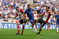 Football - 2017 / 2018 FA Cup - Semi Final: Chelsea vs. Southampton<br /> <br /> Southampton's Wesley Hoedt and Maya Yoshida stops Olivier Giroud of Chelsea at Wembley Stadium <br /> <br /> COLORSPORT/SHAUN BOGGUST