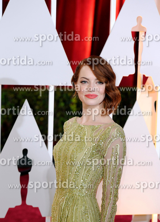 Emma Stone, best actress in a Supporting Role nominee for her role in &quot;Birdman or (The Unexpected Virtue of Ignorance)&quot;, arrives for the red carpet of the 87th Academy Awards at the Dolby Theater in Los Angeles, the United States, on Feb. 22, 2015. EXPA Pictures &copy; 2015, PhotoCredit: EXPA/ Photoshot/ Yang Lei<br /> <br /> *****ATTENTION - for AUT, SLO, CRO, SRB, BIH, MAZ only*****